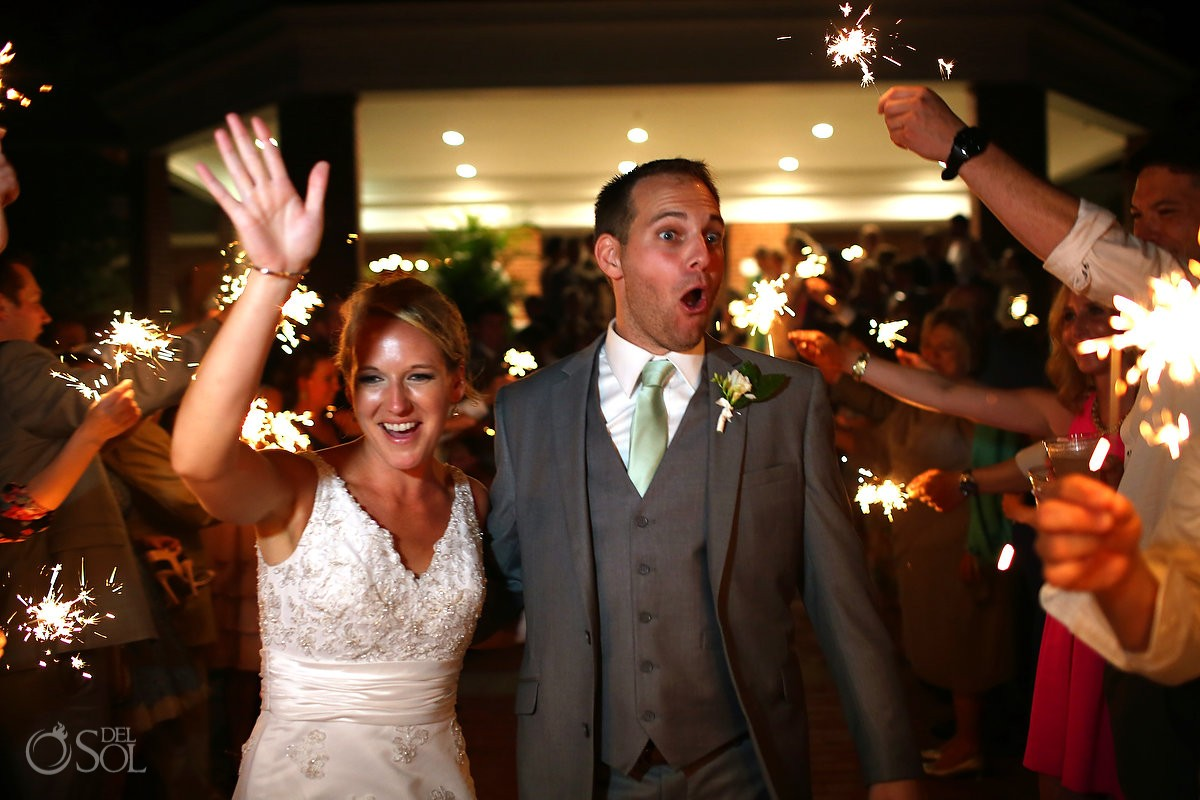 wedding ceremony exit with sparklers at the Casino Atrium - St. Simons Island, Georgia
