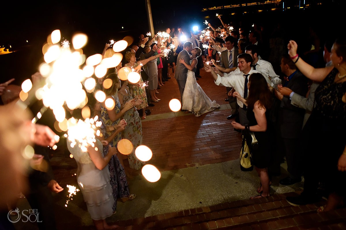 destination wedding photo with sparklers at the Casino Atrium - St. Simons Island, Georgia