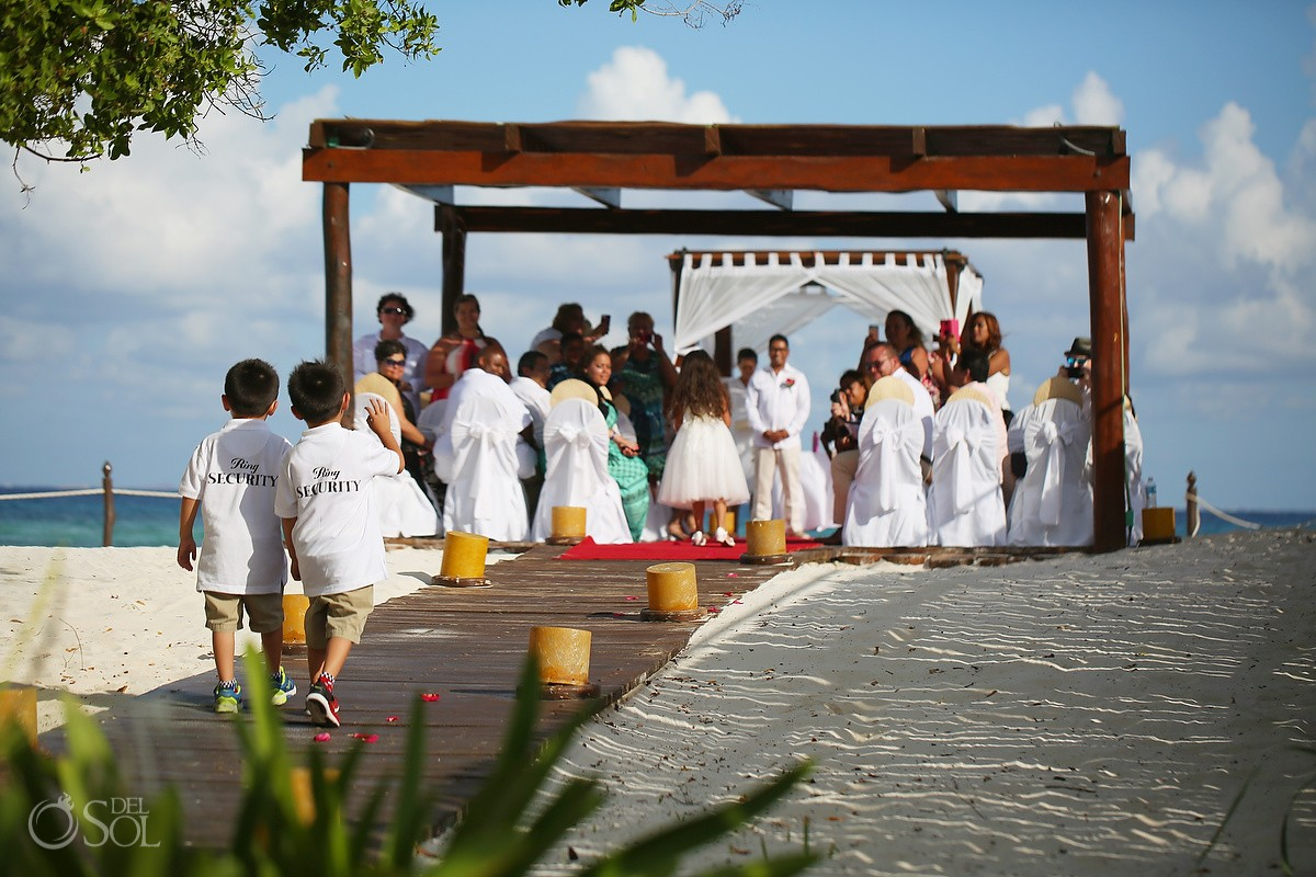 Ring security cute wedding ring bearer idea, Beach Wedding Photography, Riviera Maya.