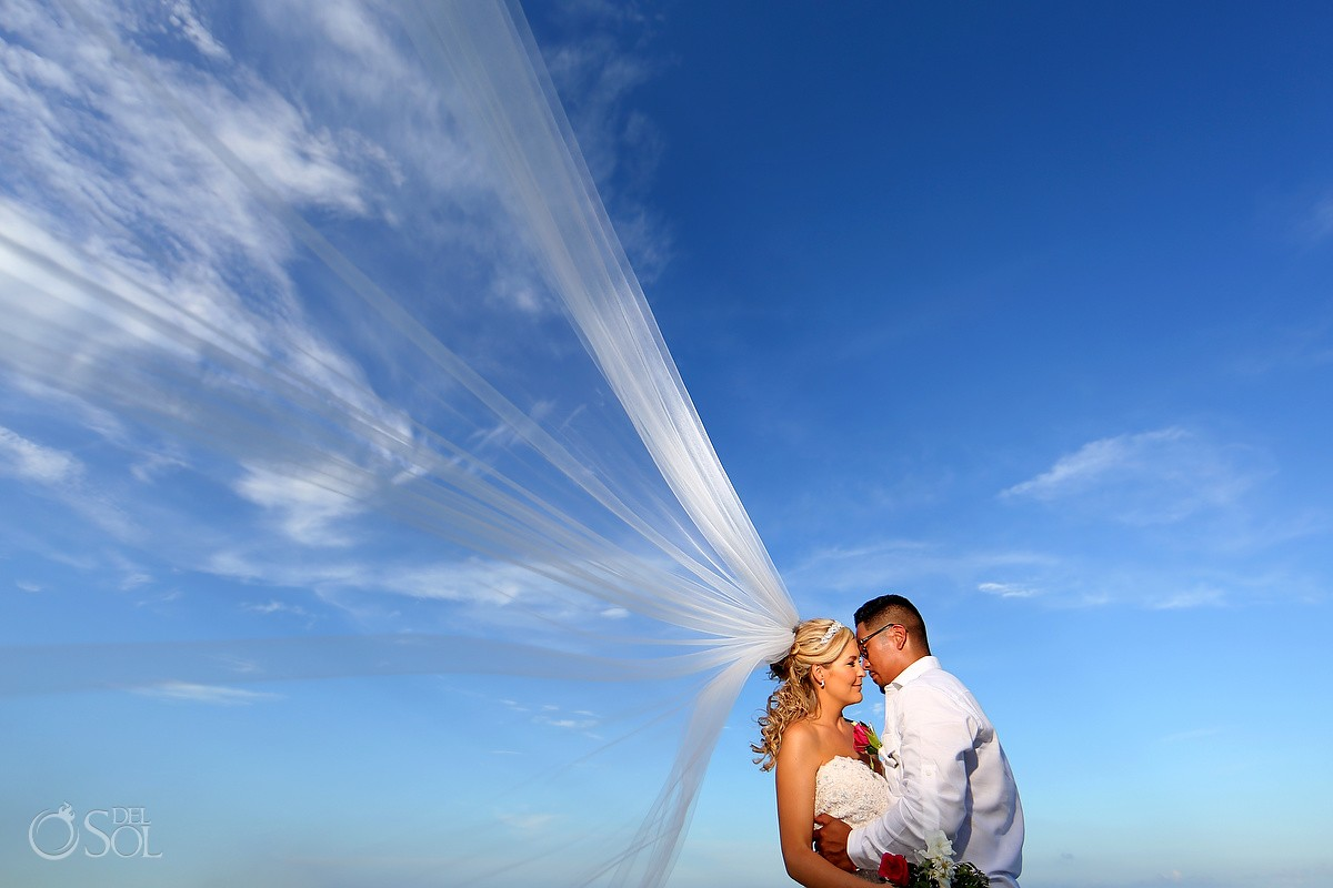 Romantic Veil beach portrait, Grand Sunset Princess, Playa del Carmen, Mexico