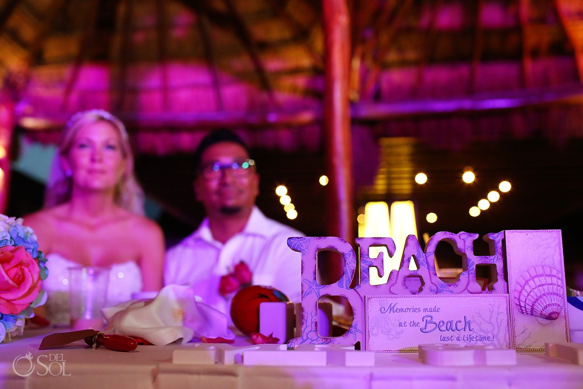 Wedding reception at beach Gazebo, Grand Sunset Princess, Akumal.