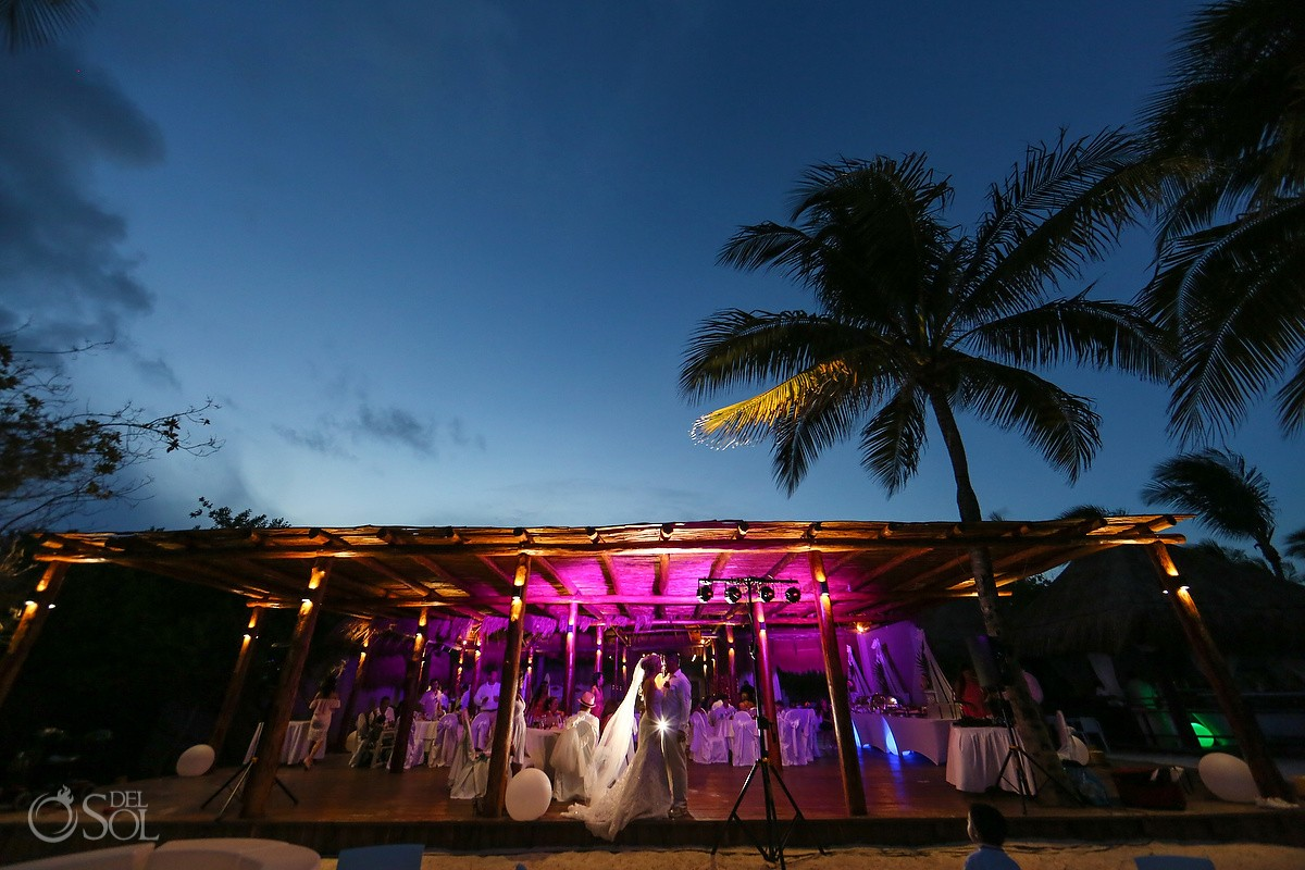 Creative night time portrait chill out lounge destination wedding Reception Grand Sunset Princess, Riviera Maya, Mexico