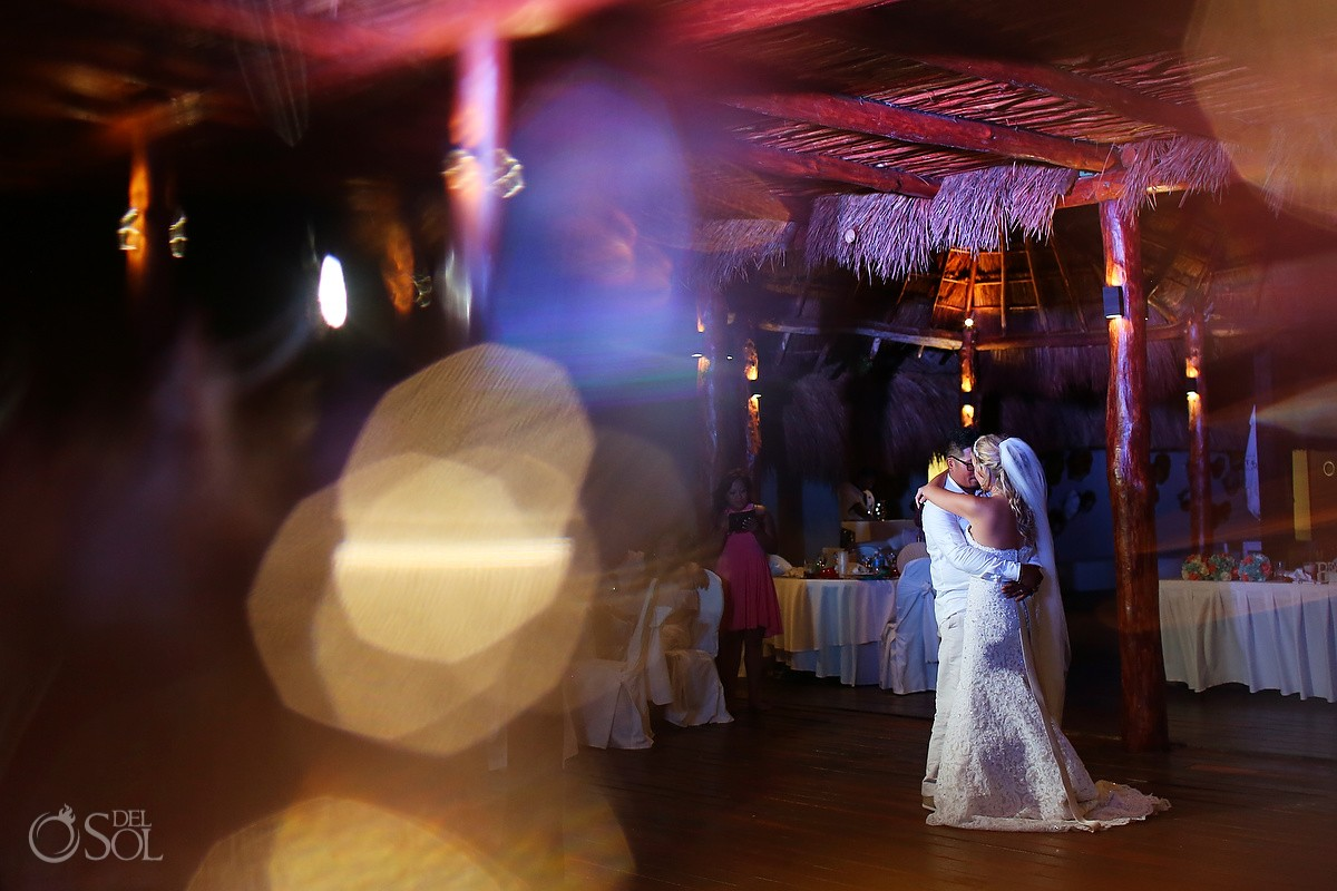 First Dance Portrait, wedding reception at Grand Sunset Princess, Riviera Maya.