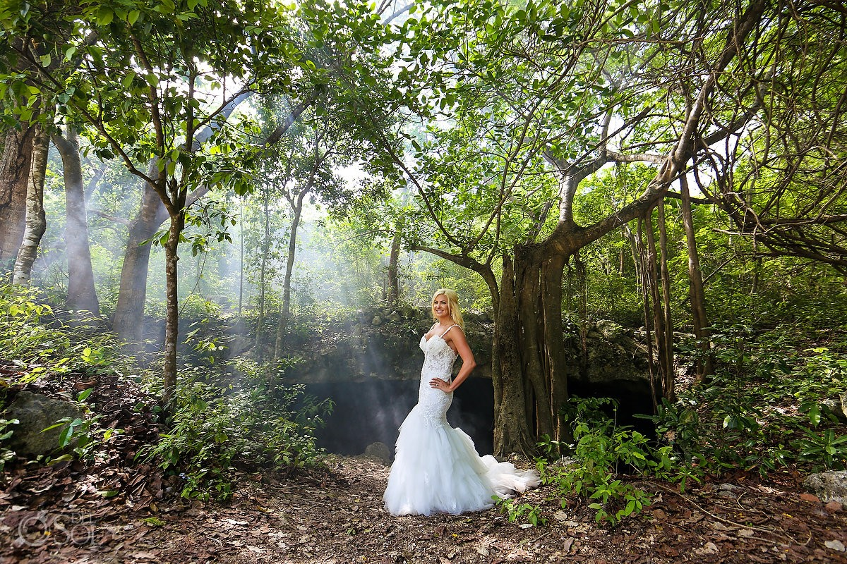 Cenote jungle bride portrait, Eve of Milady wedding dress, Riviera Maya Mexico
