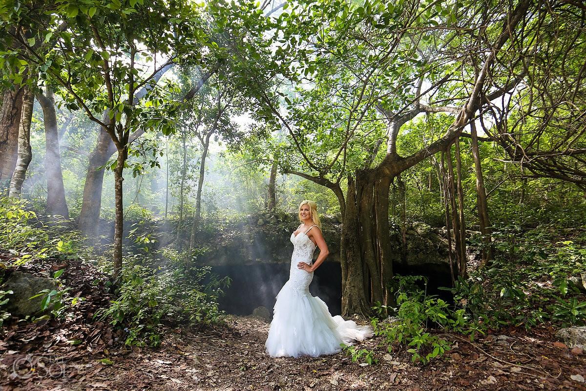 Cenote jungle bride portrait, Eve of Milady wedding dress, Riviera Maya Mexico
