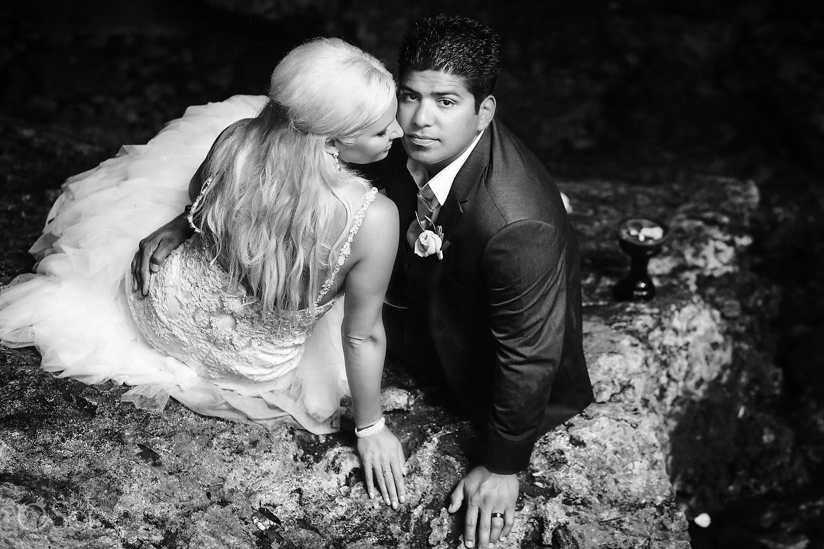 black white monochrome cenote wedding portrait Trash the Dress