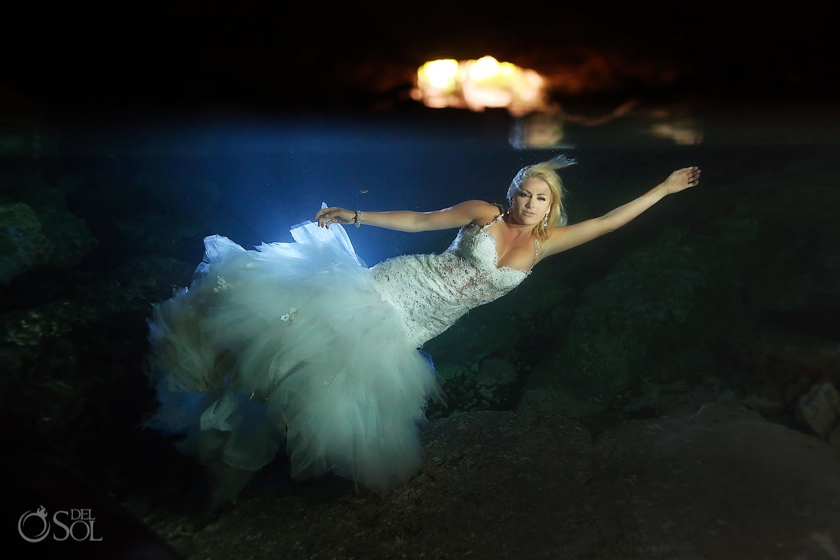 Sexy underwater bride cenote trash the dress, Eve of Milady wedding dress