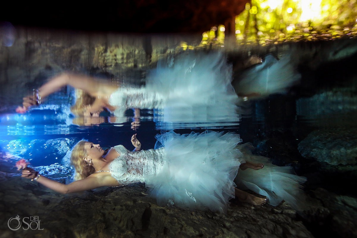 Artistic underwater photography cenote trash the dress, Riviera Maya Mexico