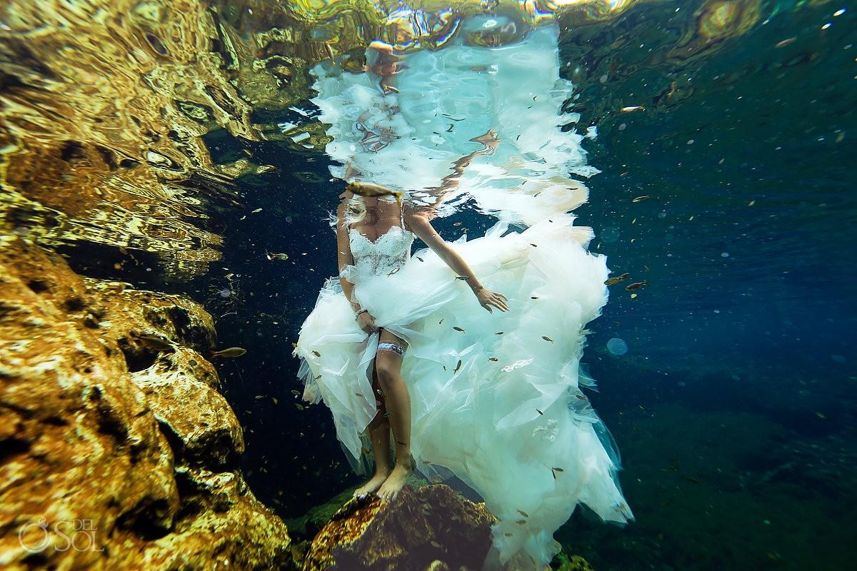 Cenote at Riviera Maya Underwater sexy trash the dress