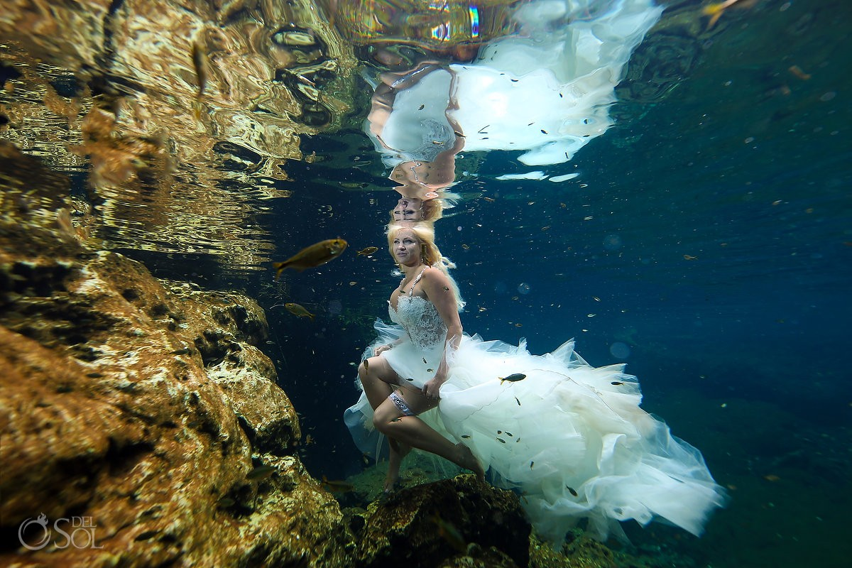 underwater mermaid bride wedding photo cenote trash the dress Riviera Maya Mexico