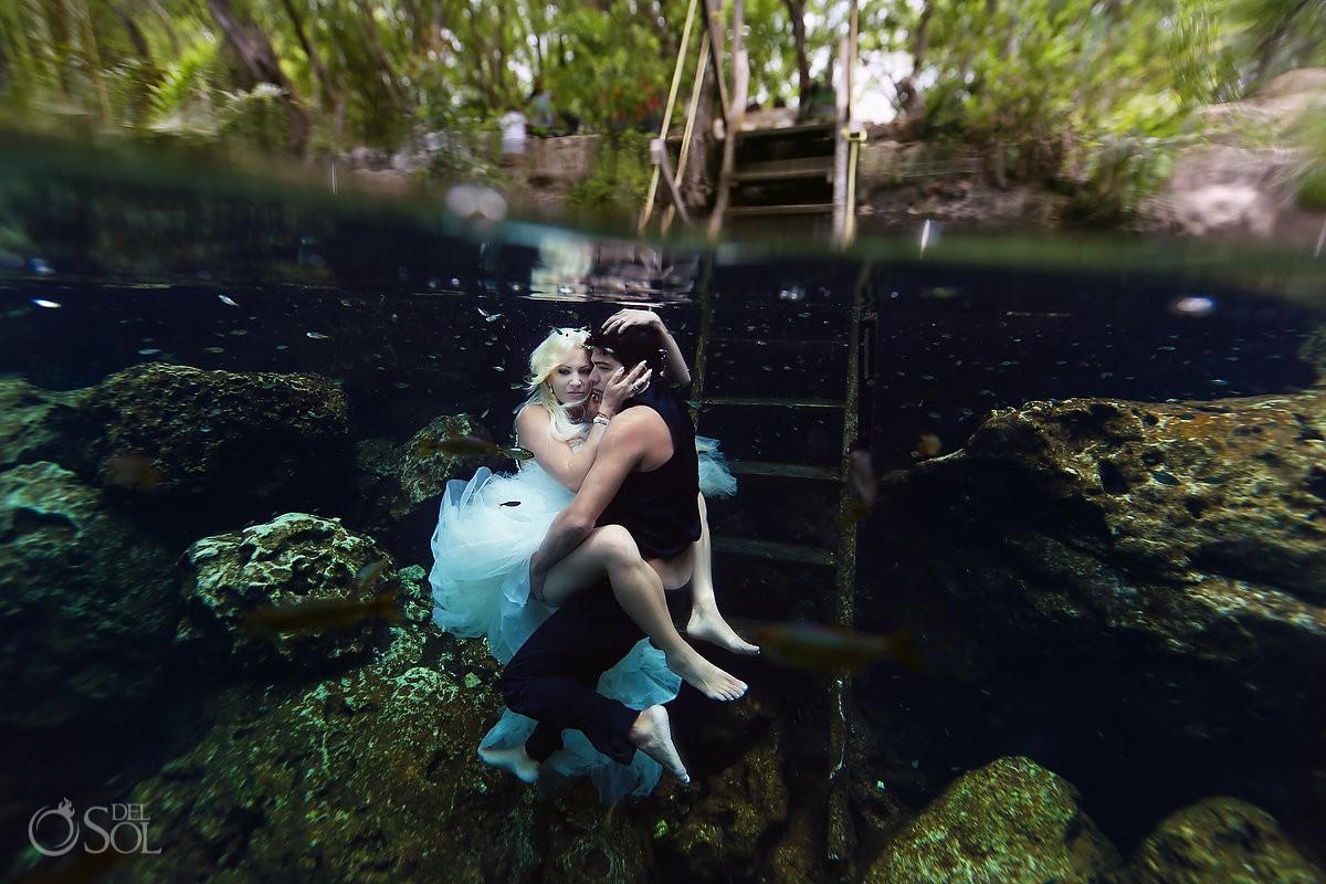 Sexy cenote trash the dress bride and groom Riviera Maya, Mexico