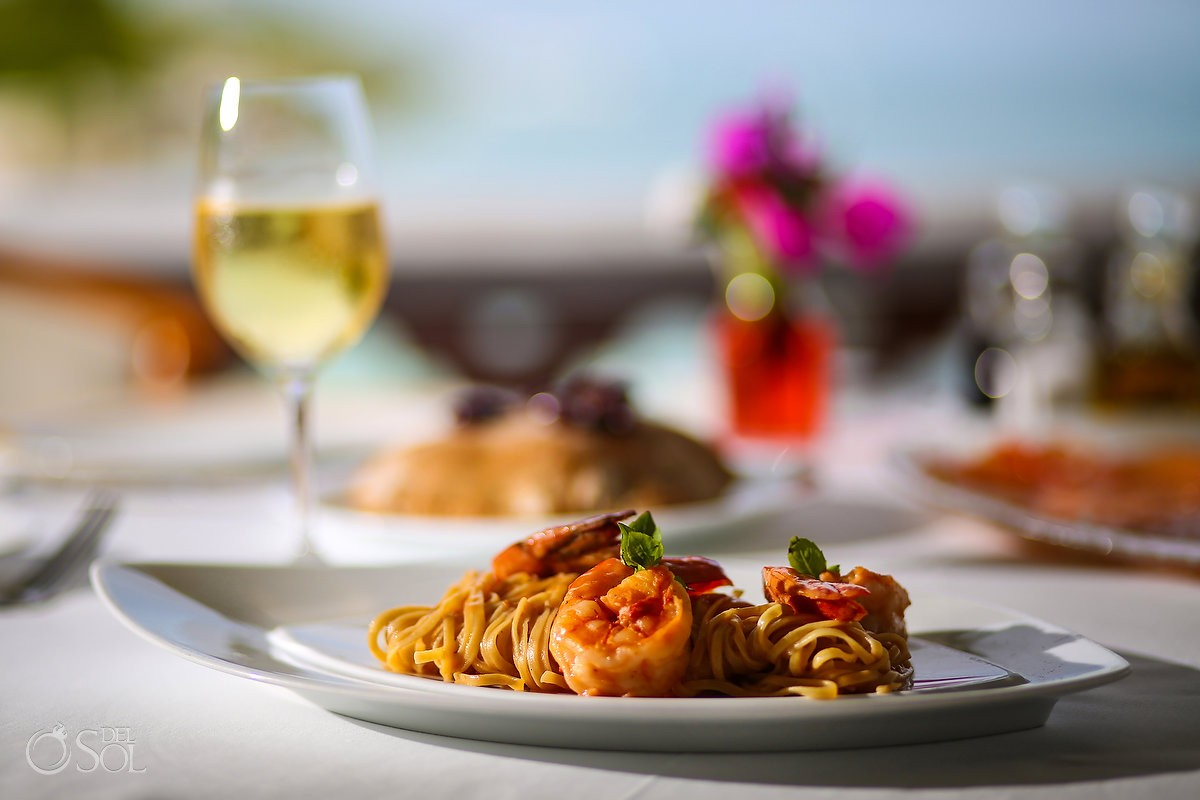 delicious food shrimp pasta boutique hotel Zoetry Villa Rolandi, Isla Mujeres, Cancun, Mexico