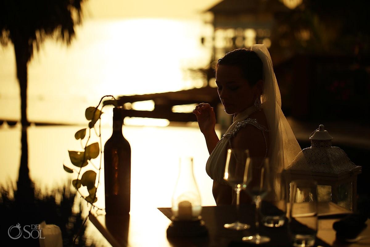 Zoetry Villa Rolandi, Isla Mujeres artistic sunset bride portrait silhouette