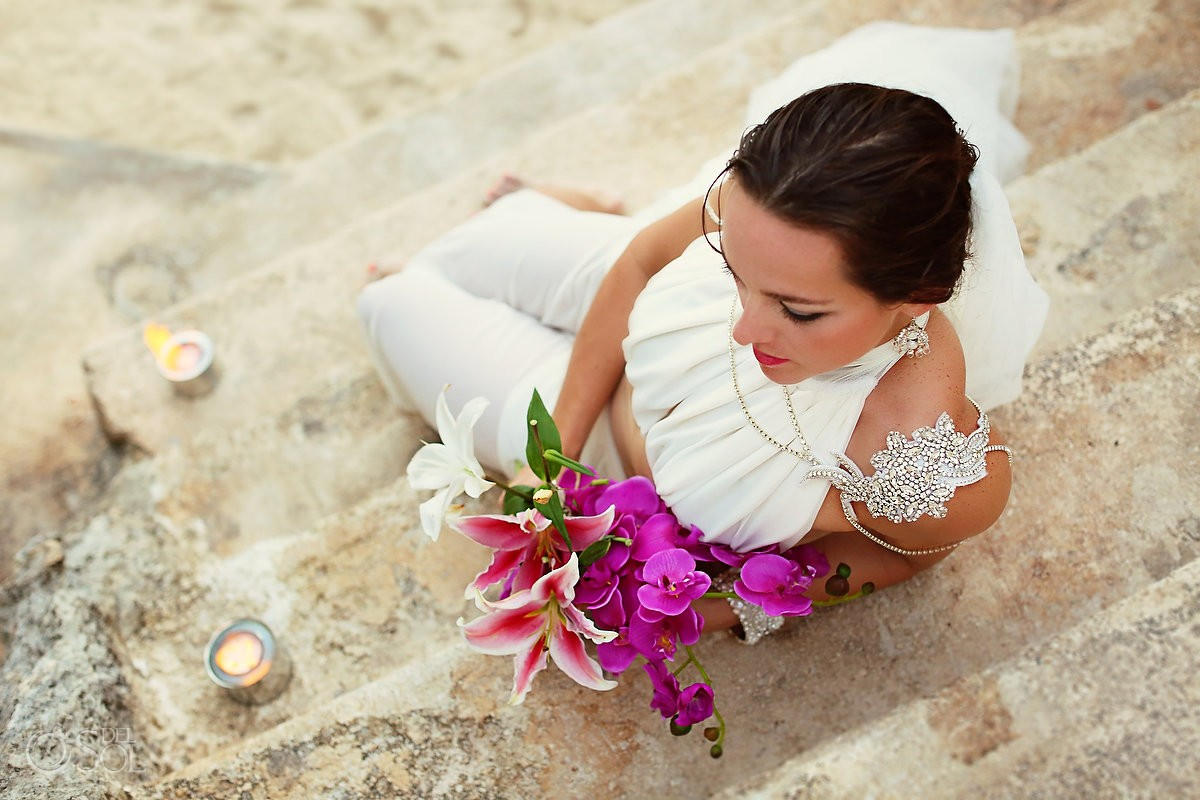bride at zoetry isla mujeres travelforlove Isla Mujeres fashion wedding gown by Pia jewelry chelsea bond #bombshell