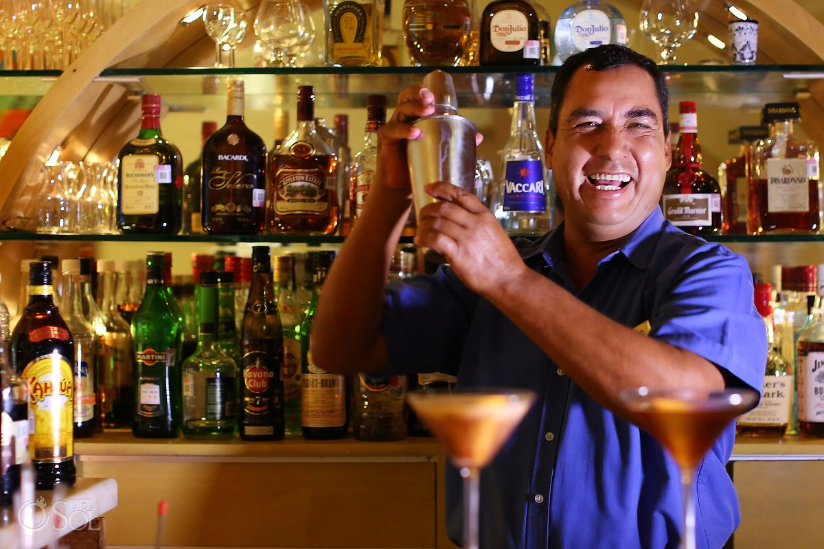 bartender making drinks Zoetry Villa Rolandi, Isla Mujeres, Cancun, Mexico