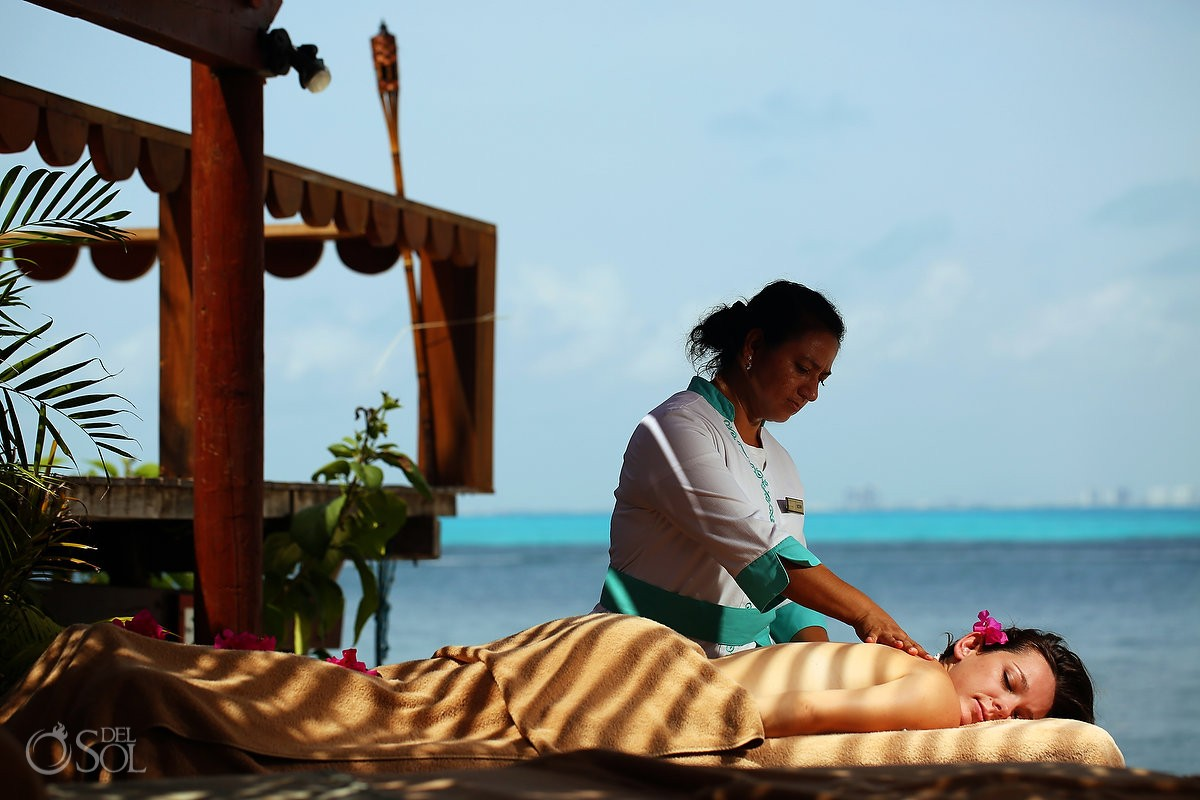 spa massage at Zoetry Villa Rolandi, Isla Mujeres, Cancun, Mexico.