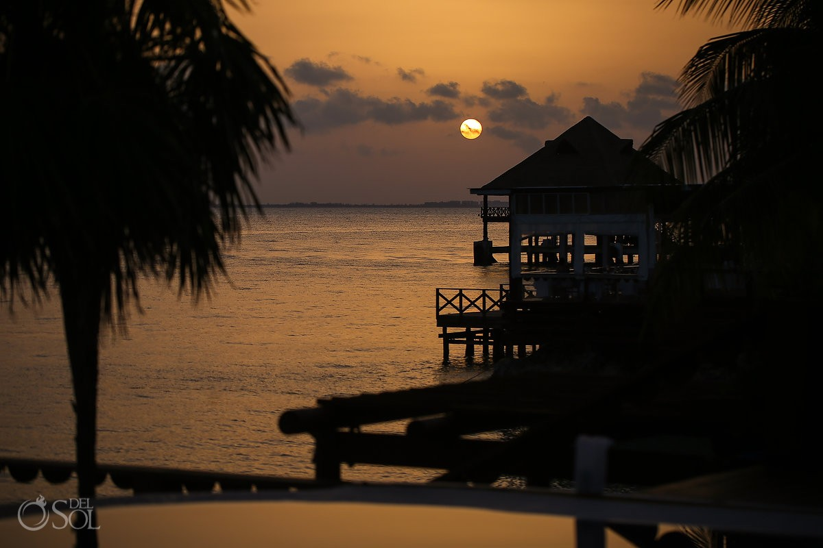 sunset at Zoetry Villa Rolandi, Isla Mujeres, Cancun, Mexico.