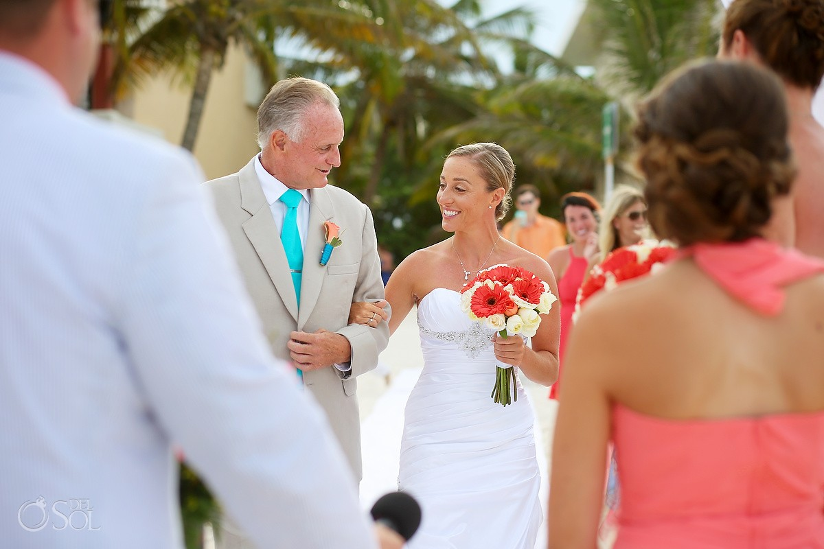 destination wedding processional with bride and father