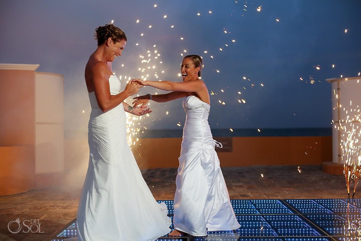 same sex destination wedding two brides first dance at now sapphire riviera cancun
