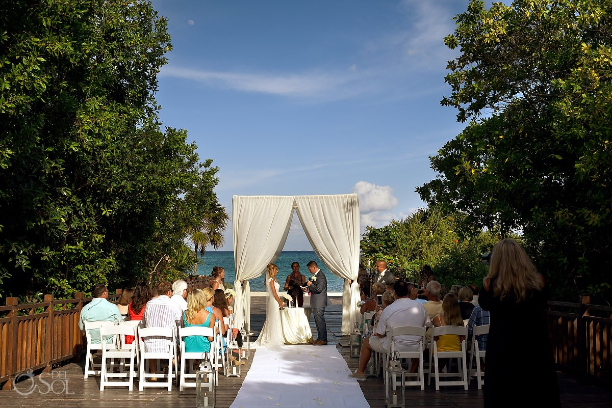 Groom reading vows destination wedding Gabi bridge Paradisus La Esmeralda Playa del Carmen