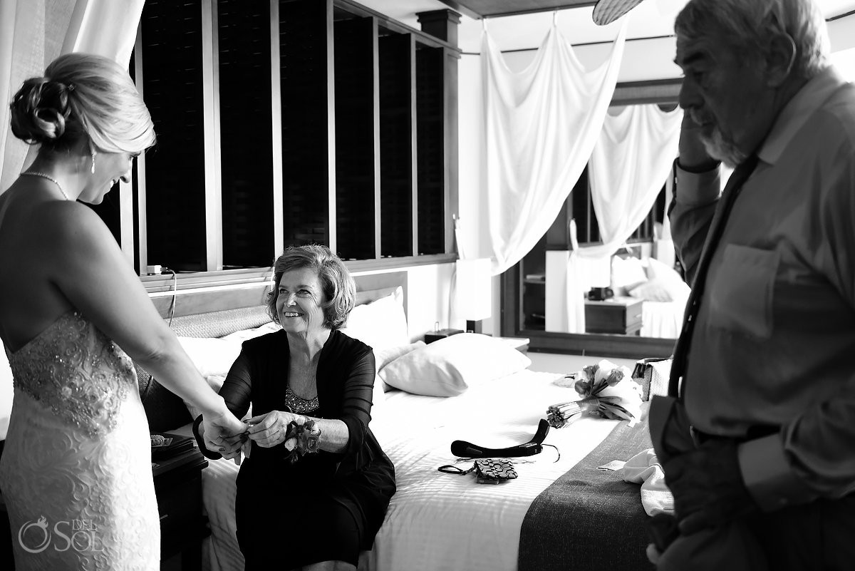 Bride and mom something borrowed moments before amazing wedding day Cancun, Mexico