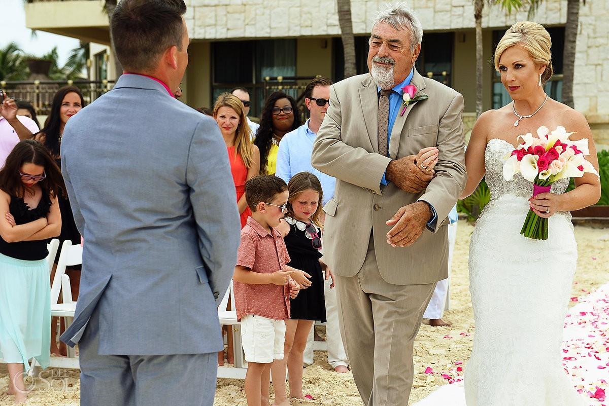 Processional father and bride Destination wedding Dreams Riviera Cancun