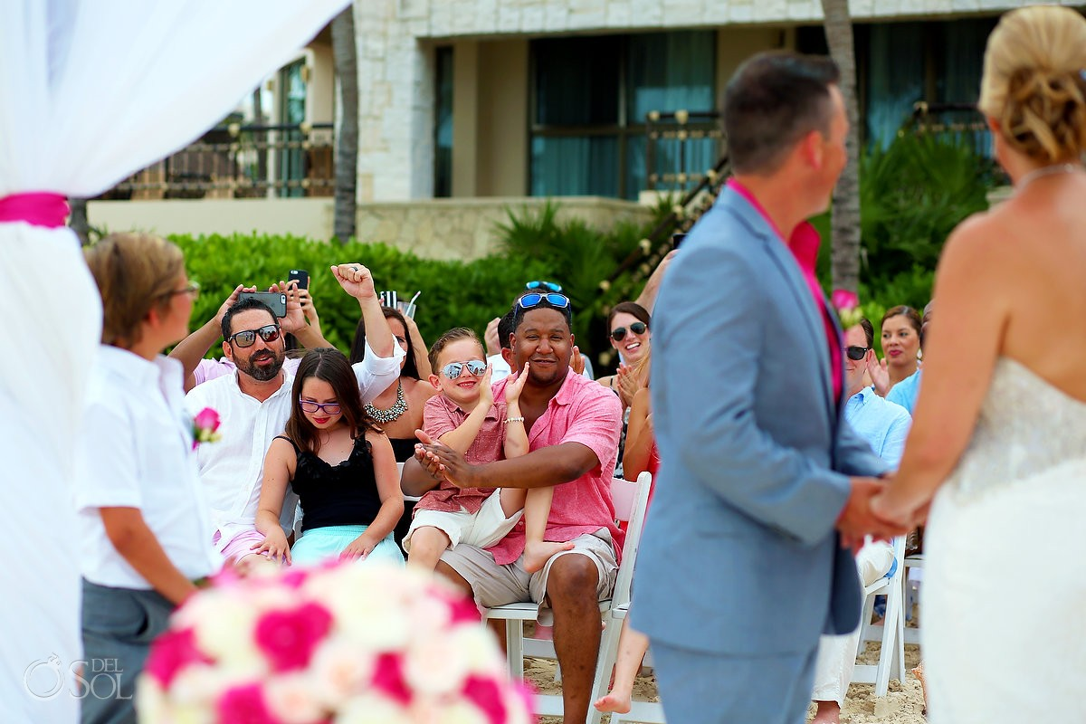Guests at wedding ceremony Cancun, Mexico