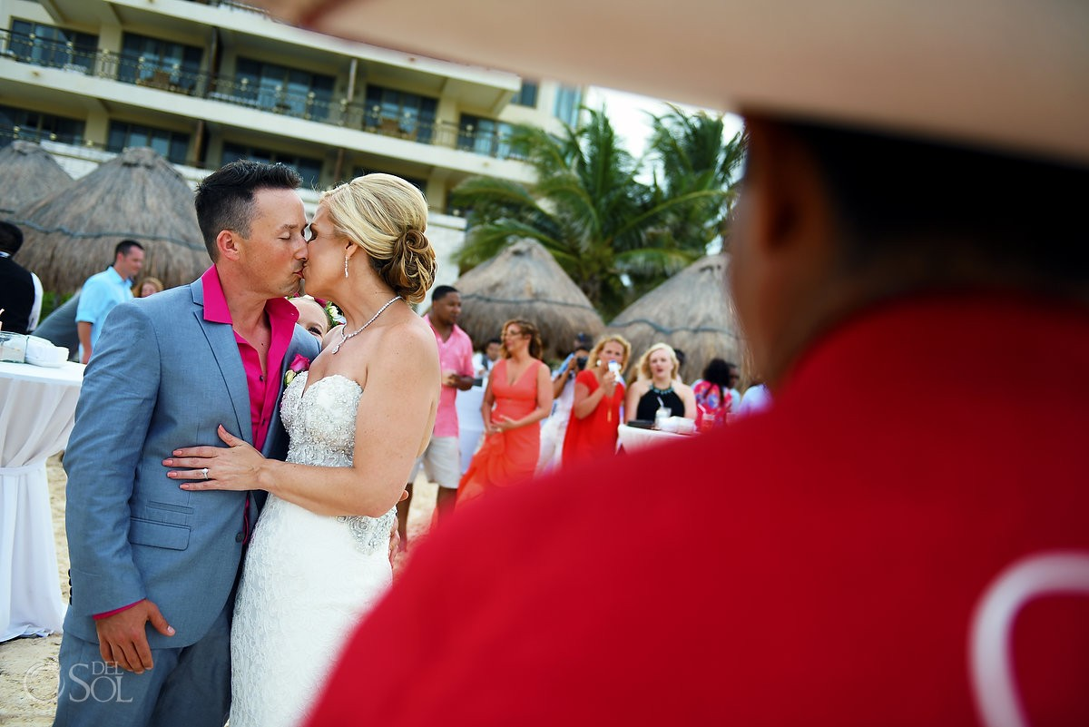 Bride and groom dancing with mariachi destination wedding Cancun, Mexico