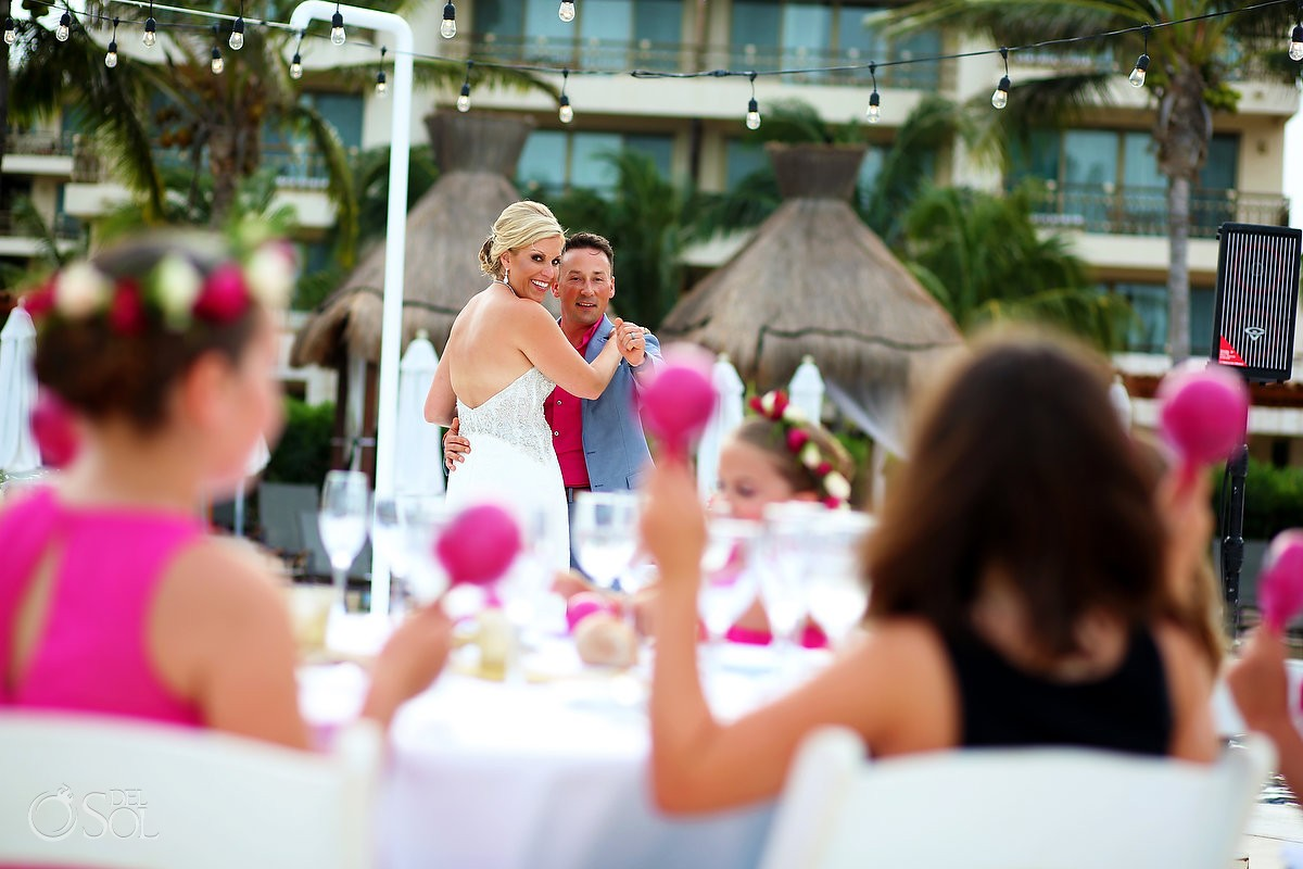 First dance bride and groom with kids having fun at wedding party, Destination wedding Dreams Riviera Cancun