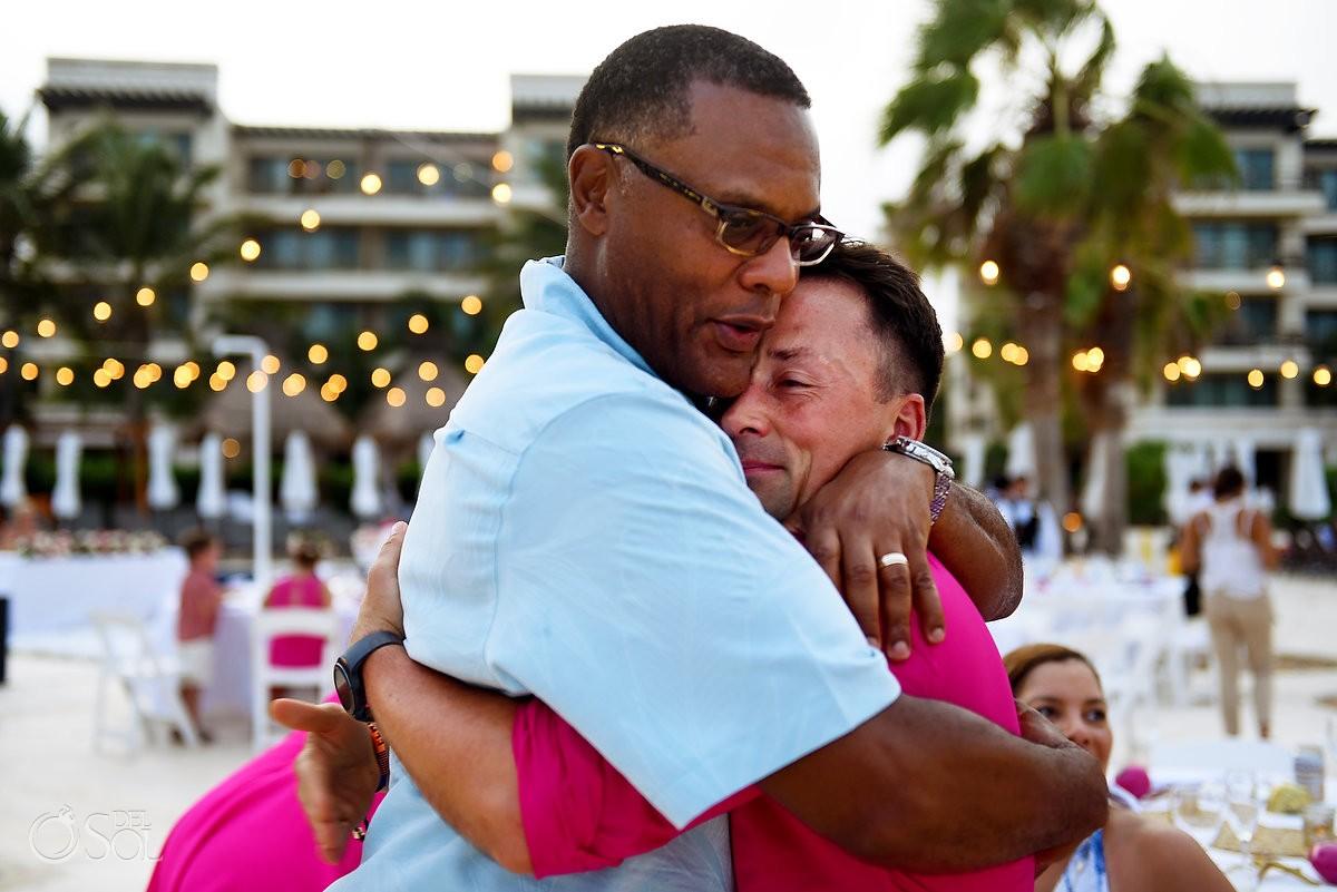 Best friends hug at Wedding Cancun, Mexico