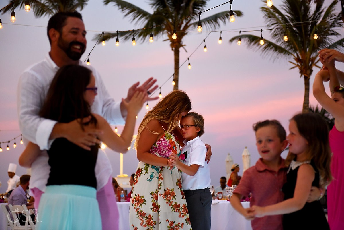 mom and son dance beach wedding Cancun, Mexico