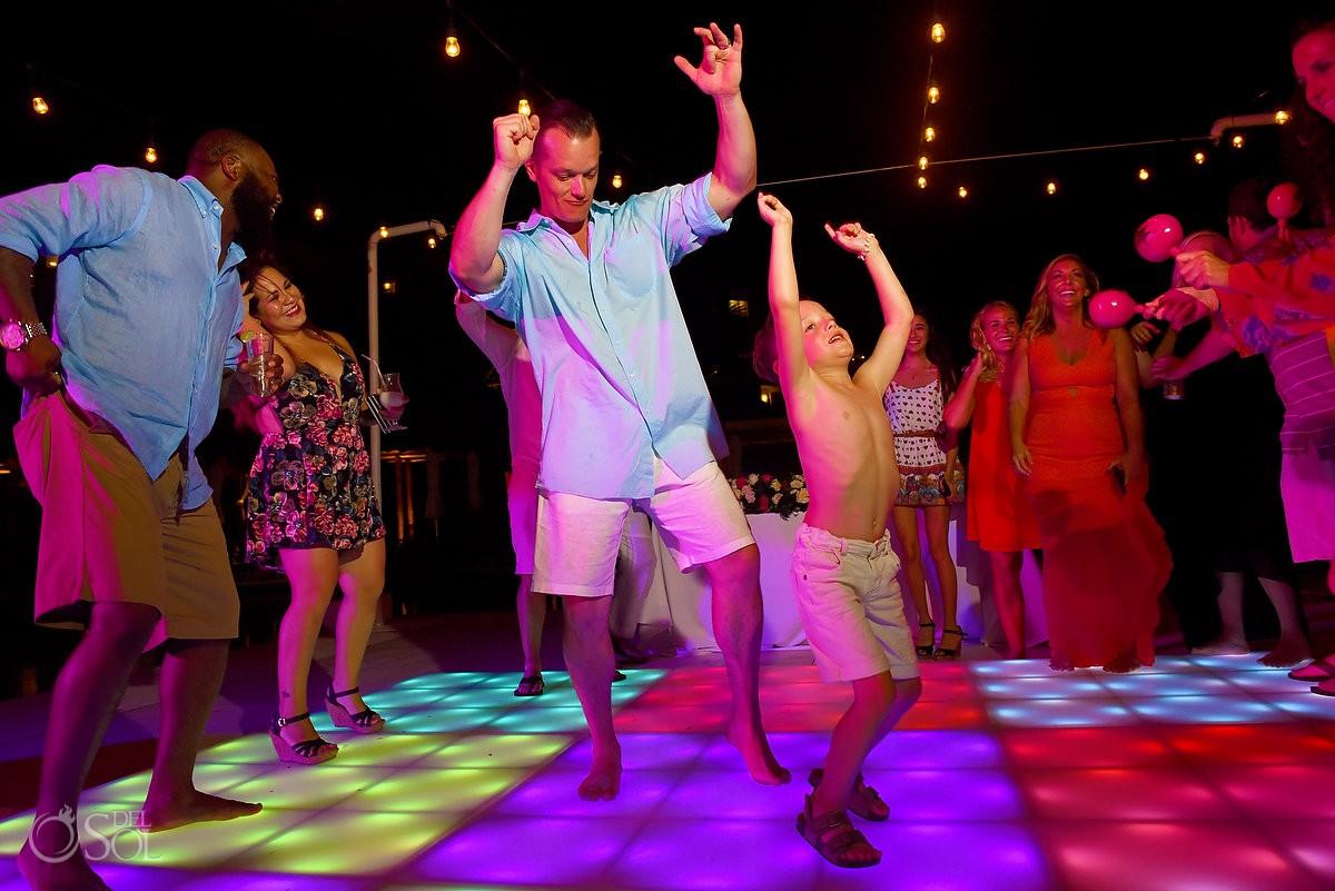 kid having fun at wedding party, destination wedding Cancun, Mexico