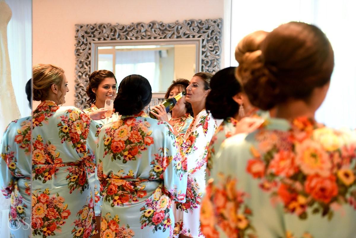 bridal party drinking champagne getting ready bridal suite Paradisus La Esmeralda, Playa del Carmen, Mexico