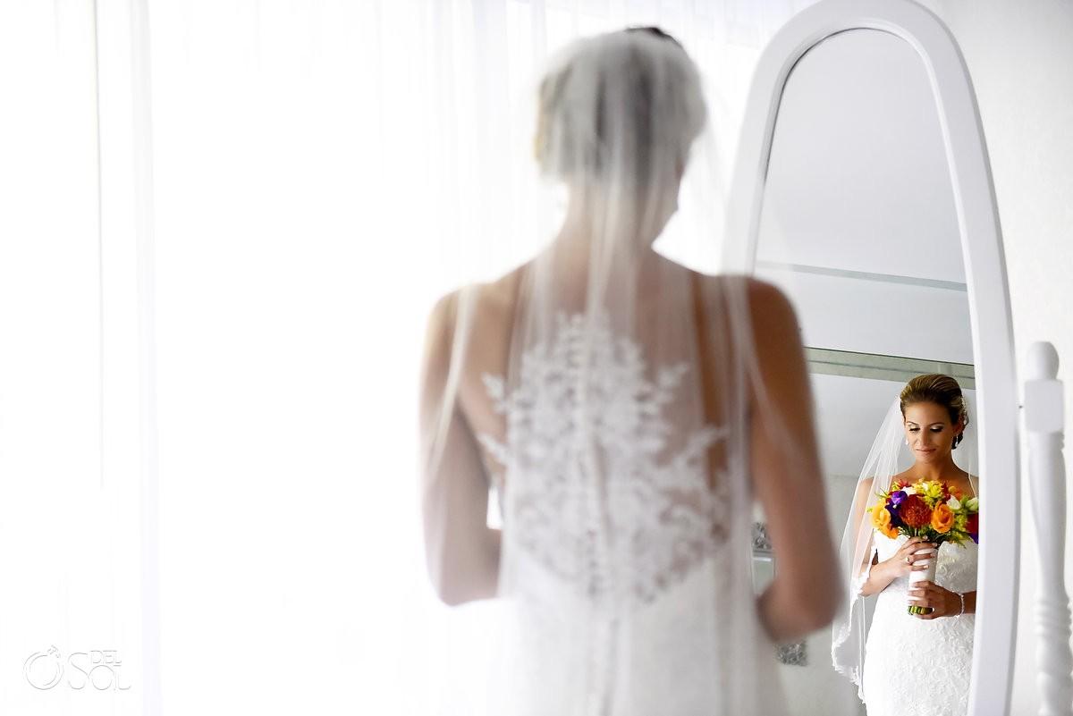 Bride portrait Paradisus Playa del Carmen bridal suite Essense of Australia Wedding dress