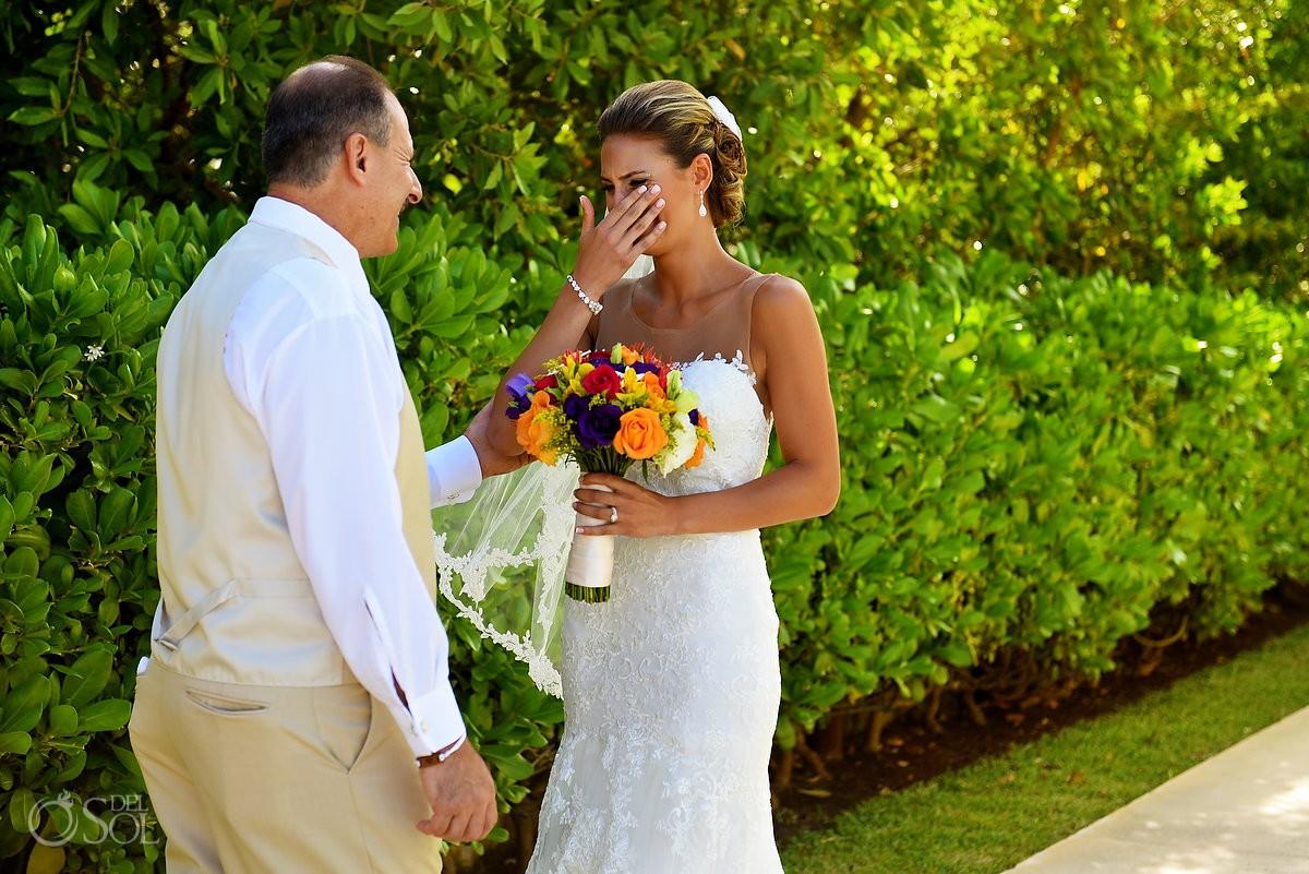 First look bride with father gazebo Paradisus La Esmeralda, Playa del Carmen, Mexico