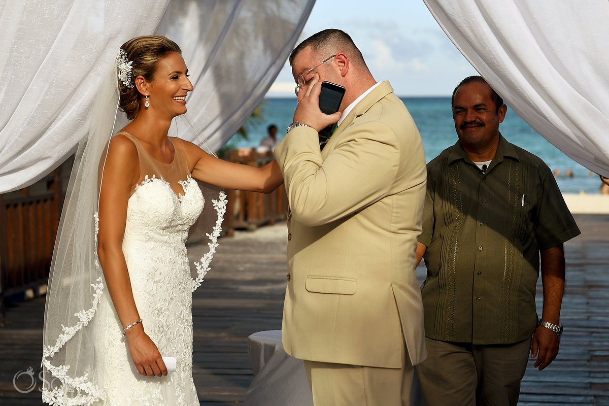 emotional ceremony moment destination wedding Gabi Bridge Paradisus La Esmeralda, Playa del Carmen, Mexico