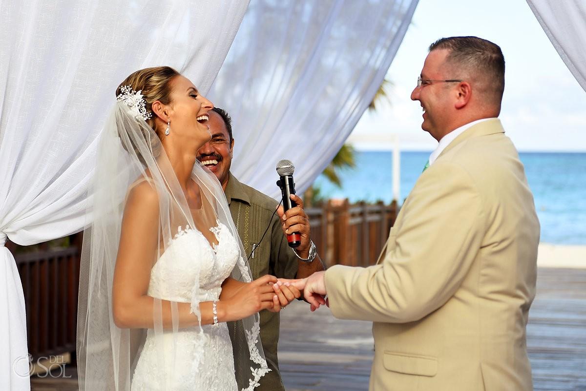 funny ceremony moment destination wedding Gabi Bridge Paradisus La Esmeralda, Playa del Carmen, Mexico