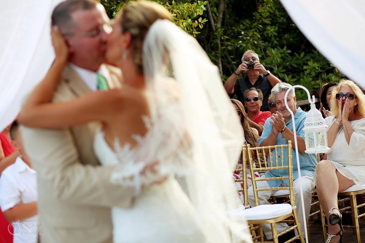 first kiss destination wedding Gabi Bridge Paradisus La Esmeralda, Playa del Carmen, Mexico
