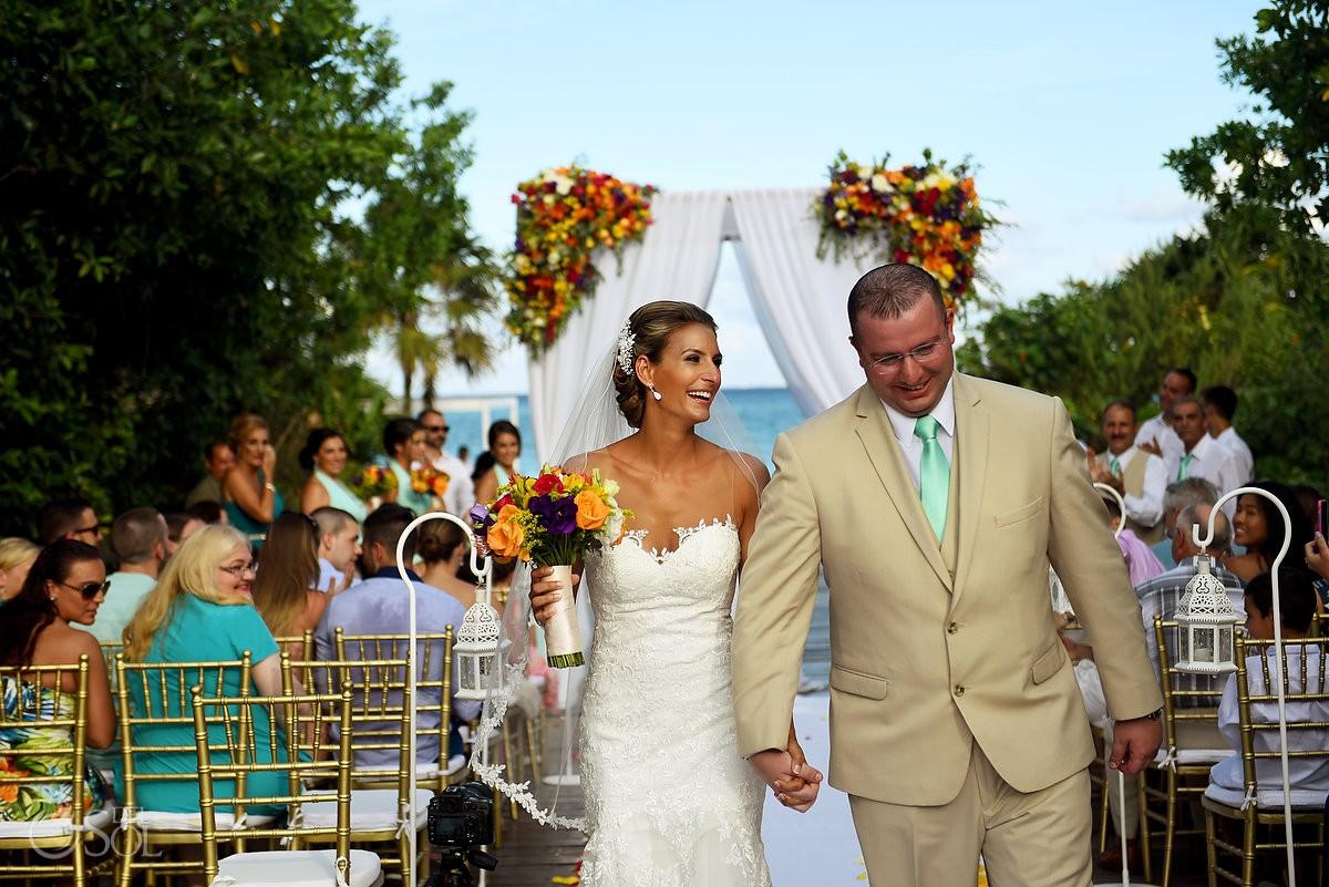 ceremony exit destination wedding Gabi Bridge Paradisus La Esmeralda, Playa del Carmen, Mexico