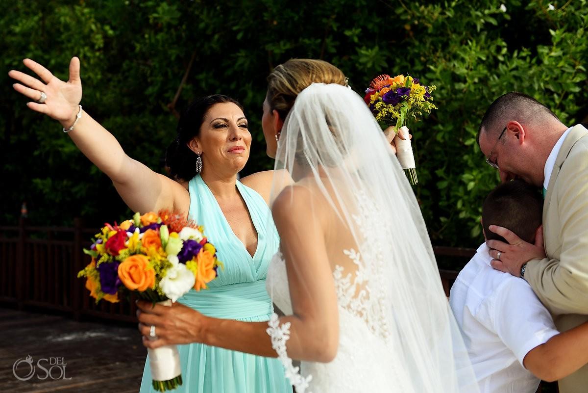 celebration hugs destination wedding Gabi Bridge Paradisus La Esmeralda, Playa del Carmen, Mexico