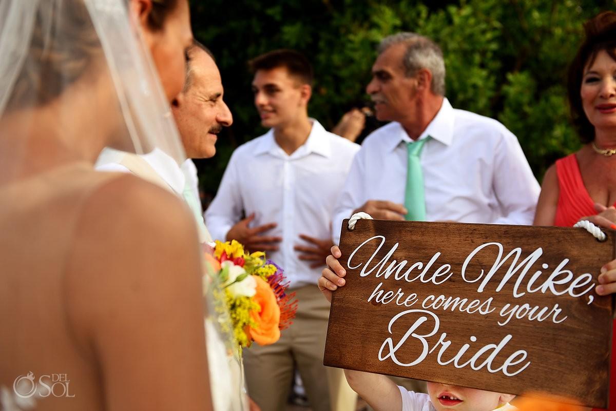 ring bearer shows bride custom wedding sign