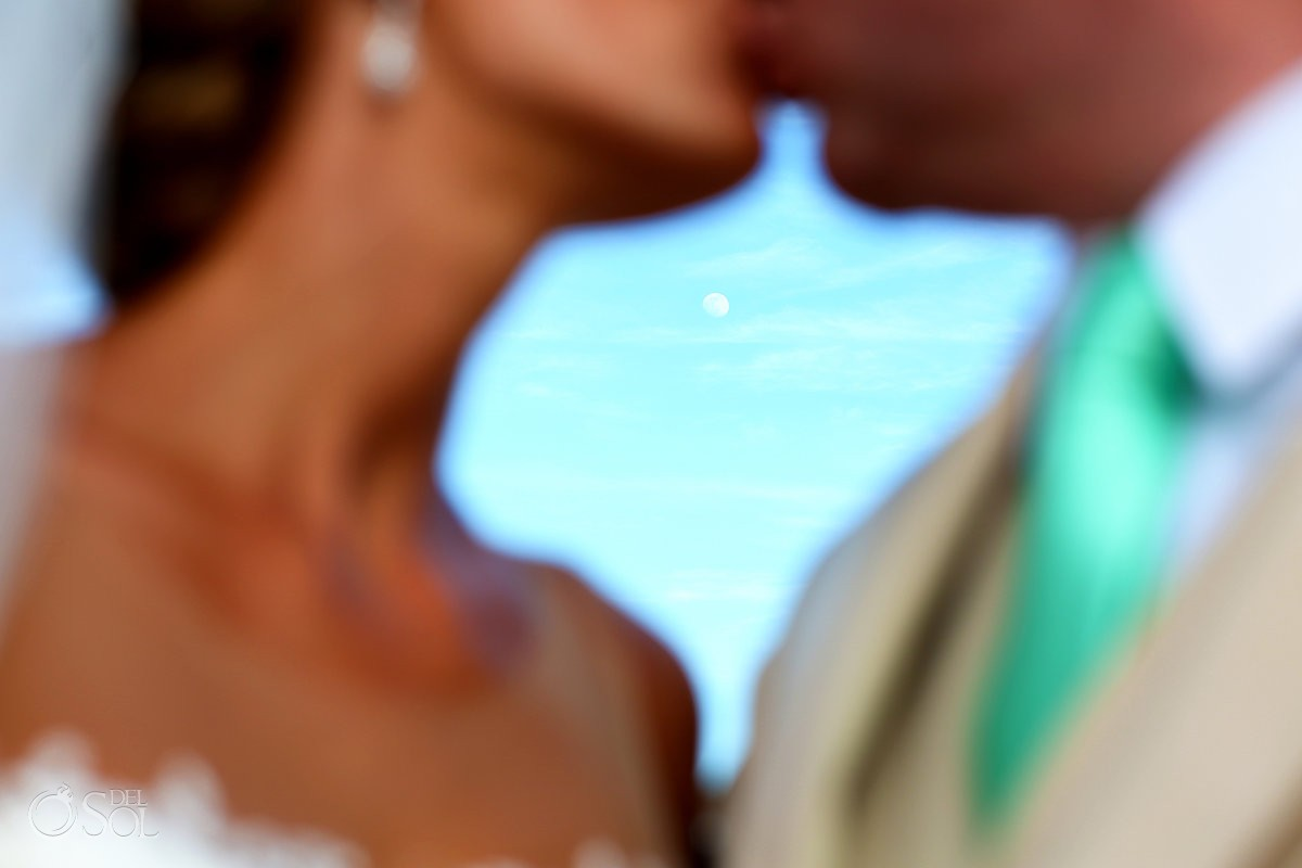 creative day time full moon kiss destination wedding portrait Paradisus La Esmeralda, Playa del Carmen, Mexico