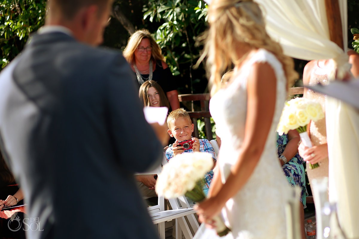 cute Kid watching Destination Wedding Gabi Bridge Paradisus Riviera Maya