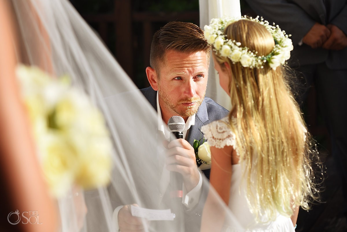including children in wedding ceremony ideas, groom reads special vows to brides daughter