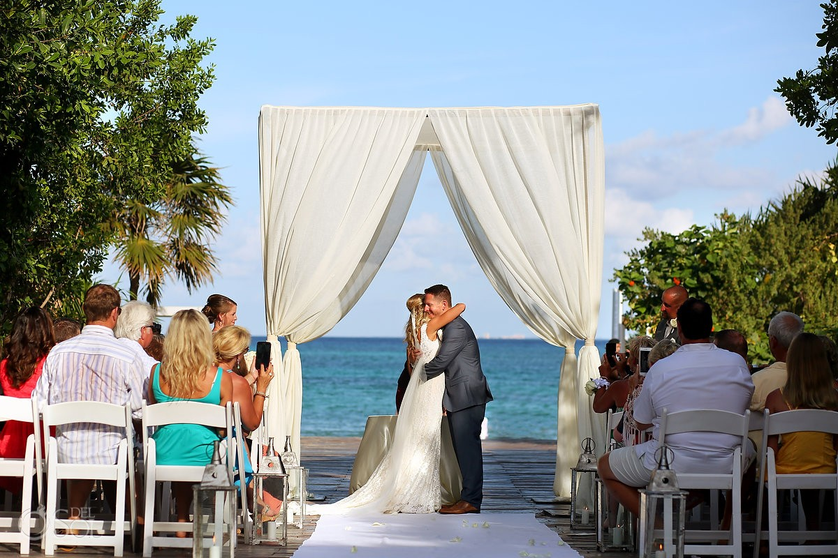 First Kiss Bride and Groom Ceremony Destination Wedding Playa del Carmen, Mexico
