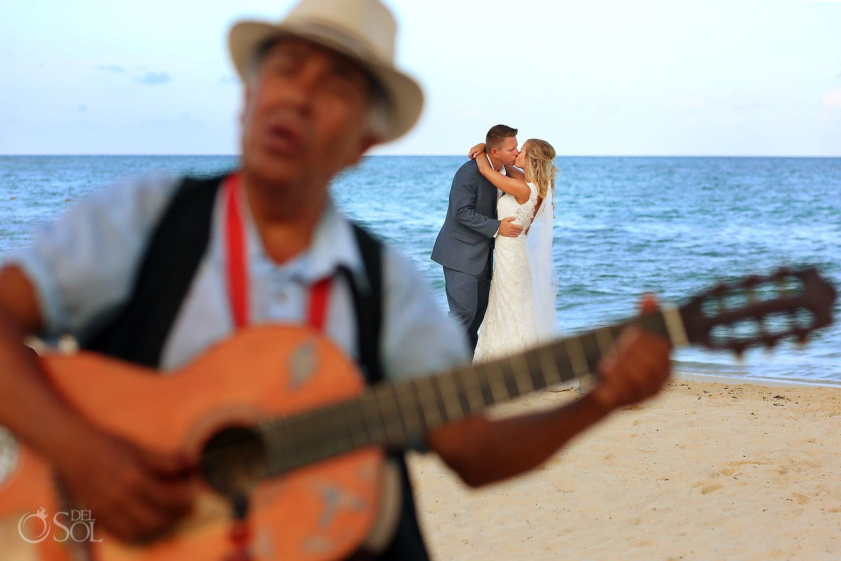 Music love at beach Destination Wedding Playa del Carmen, Mexico