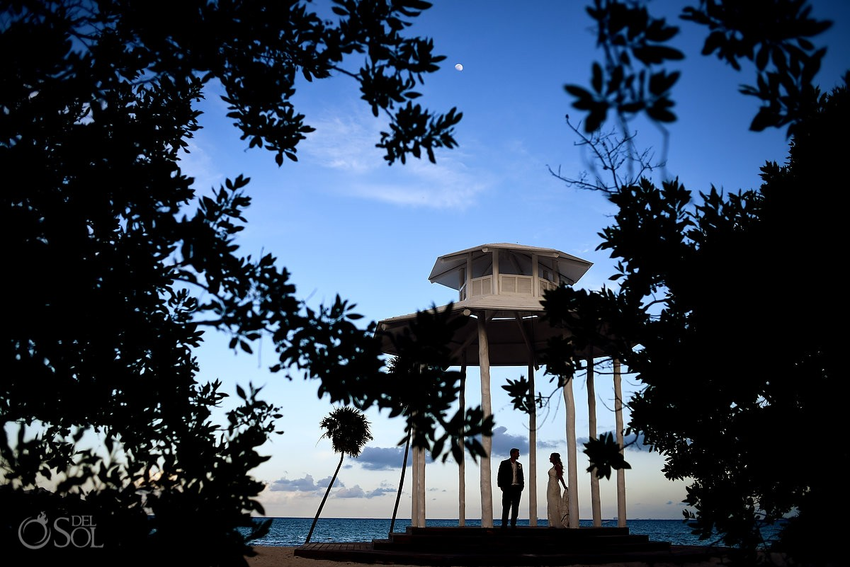 beach gazebo destinatinon wedding sunset portrait, Paradisus Playa del Carmen #travelforlove