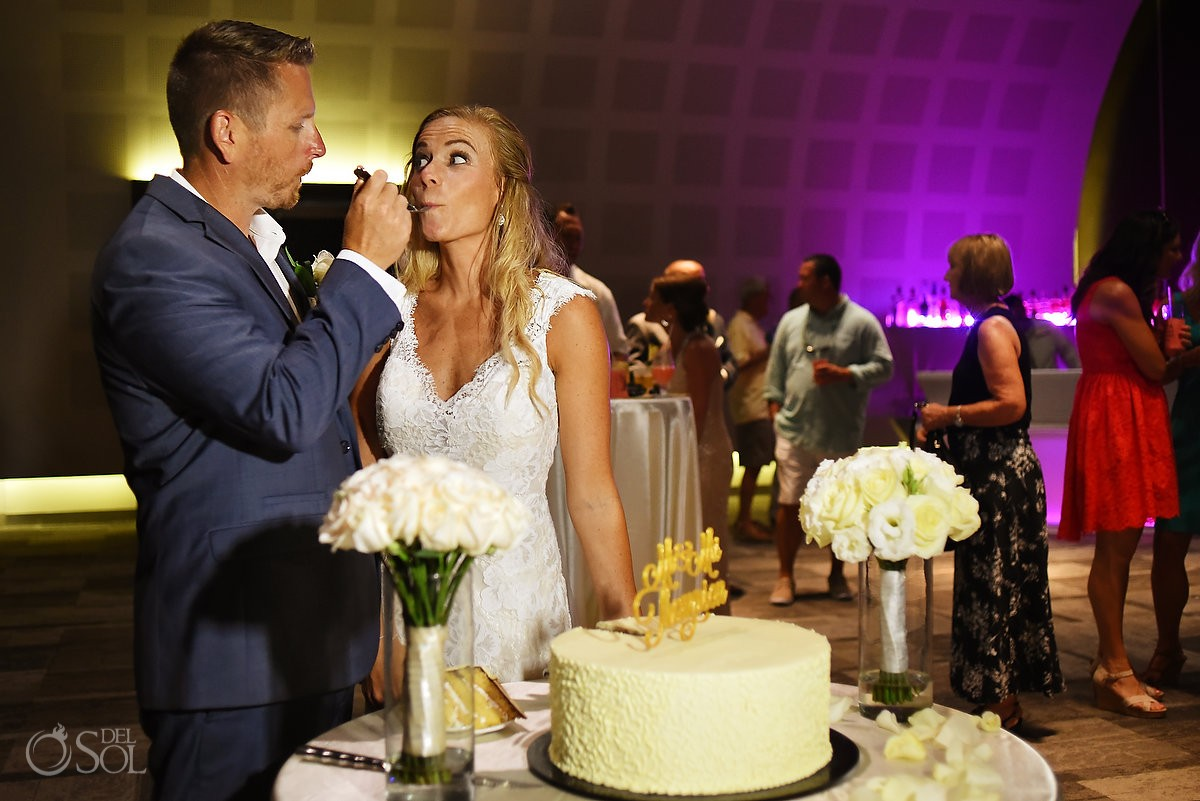 Cake cutting Bride and Groom Destination Wedding Paradisus Playa del Carmen, Mexico