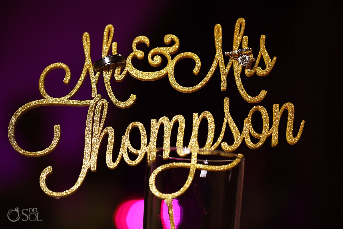 Creative engagement wedding ring photo idea, personalized cake topper Mr and Mrs Thompson