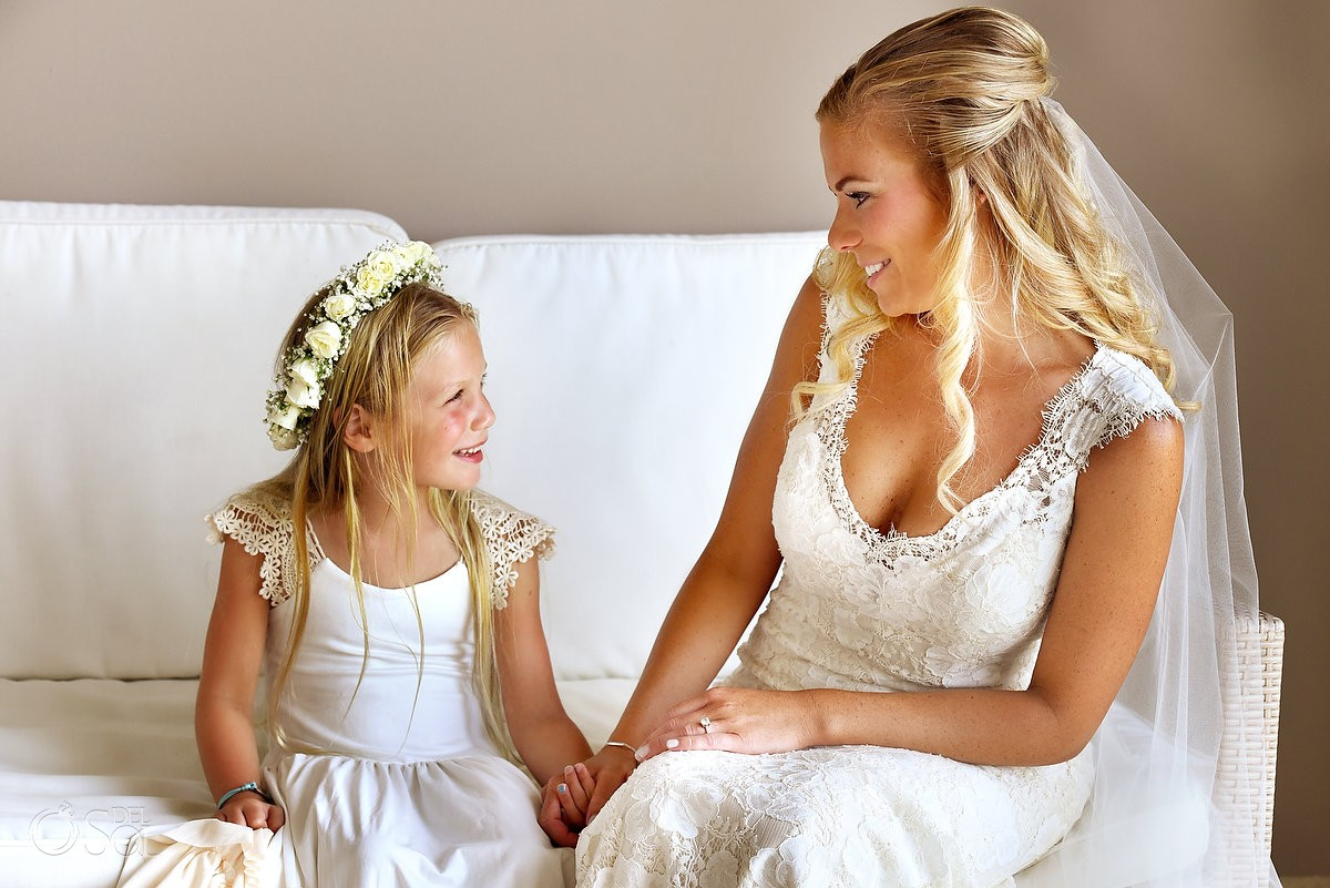 beautiful candid wedding portrait bride and daughter, cute flower girl, destination wedding family love